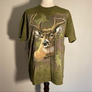 The Mountain Forest Green White tail Deer T-Shirt